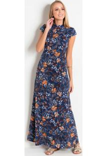 Vestido Floral Com Gola Moda Evangélica