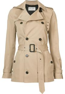 Saint Laurent Trench Coat Com Cinto - Marrom