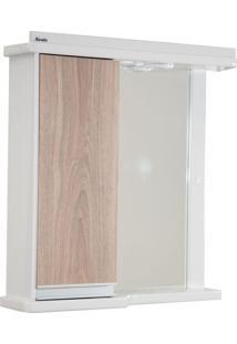 Espelheira 61Cm Azzera C/ Led Tomada E Interruptor Branco/Carvalho Bonatto