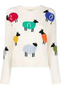Benetton Logo Sheep Sweater - Branco