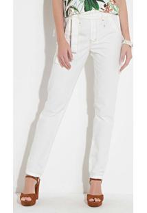 ... Calça Quintess (Off-White) Com Faixa Na Cintura 042beeae6d5
