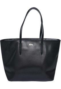 Bolsa Retangular Texturizada- Preta- 29,5X44,5X17Cmlacoste