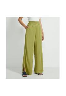 Calça Pantalona Em Viscose Com Elástico No Cós E Detalhe De Pespontos   Marfinno   Verde   P