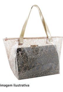 Bolsa Shopper Jacki Design Bege E Transparente