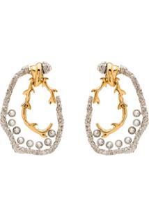 Chloé Silver Plated Bonnie Two Tone Earrings - Prateado