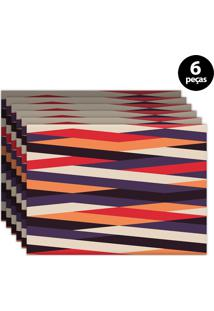 Kit 6Pçs Jogo Americano Mdecor Abstrato 40X28Cm Roxo