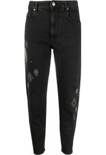Isabel Marant Étoile Calça Jeans Reta Com Bordado - Preto
