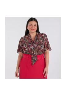 Blusa Gola Laço Estampada Curve & Plus Size | Ashua Curve E Plus Size | Bege | G