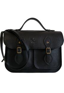 Bolsa Line Store Leather Satchel Pockets Pequena Couro Preto - Kanui