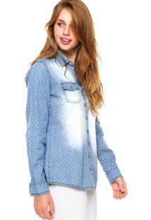 Camisa Jeans Malwee Poá Azul