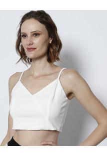 Blusa Cropped Lisa Com Recortes- Off Whitetvz