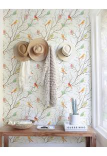 Papel De Parede Stickdecor Adesivo Floral Com Passarinhos 100Cm L X 300Cm A - Multicolorido - Dafiti