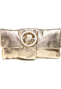 Clutch Couro Dumond Metalizada Dourada