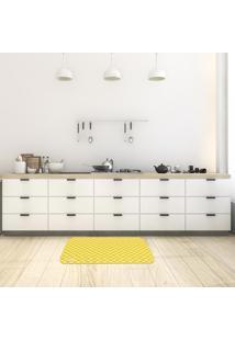 Tapete De Cozinha Mdecore Xadrez Amarelo 40X60Cm