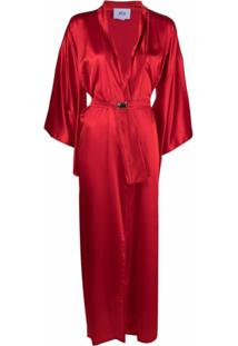 Atu Body Couture Casaco Longline De Cetim - Vermelho