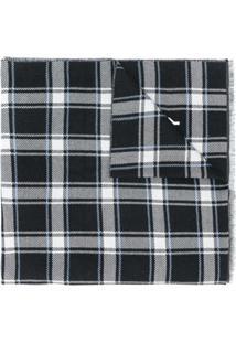 Givenchy Cachecol Xadrez Com Logo - Preto