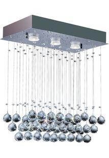 Plafon Retangular Crystal Ball Com 3 Luzes 46X26Cm Espelhado