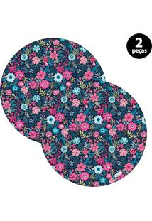 Capa Para Sousplat Mdecore Floral Colorido 2Pçs