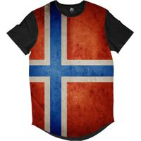a956c6e602 Camiseta Longline Bsc Bandeira Noruega Sublimada Preto
