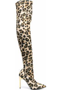 Moschino Bota Cano Longo Com Estampa De Leopardo - Neutro