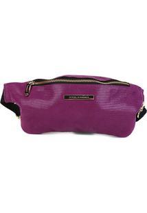 Pochete Couro Jorge Bischoff Glossy Purple Feminina - Feminino-Roxo