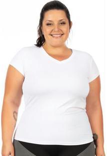 Blusa Plus Size Com Proteção Uv Branca Janfer