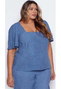 Blusa Almaria Plus Size Pianeta Azul Azul