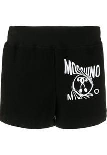 Moschino Printed Logo Track Shorts - Preto