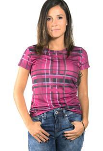 Camiseta Mary Lemon Xadrez Rosa