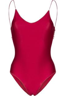 Oseree Travaille Lace Trim Swimsuit - Vermelho