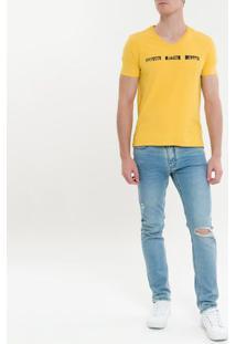 Camiseta Ckj Mc Est Logo Pintura - Mostarda - Pp