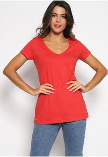 Camiseta Com Bordado - Vermelha & Azul Marinhoaleatory