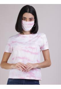 Kit De Blusa Feminina Estampada Tie Dye Manga Curta Decote Redondo + Máscara De Proteção Individual Off White