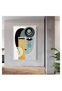 Quadro 90X60Cm Abstrato Geométrico Oriental Geisha Moldura Flutuante Filete Branca