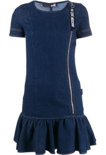 Love Moschino Vestido Jeans Mangas Curtas - Azul