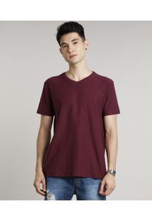 Camiseta Masculina Básica Manga Curta Gola V Vinho