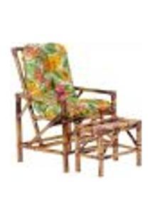 Conjunto Mesa E Cadeira De Bambu Cancun Para Área Edicula Jardim G38