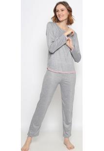 Pijama Mescla Com Renda- Cinza & Rosa- Zulaizulai
