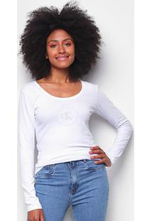 Blusa Calvin Klein Slim Logo Manga Longa Feminina - Feminino-Branco