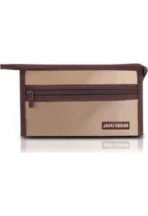 Necessaire Envelope Pequena Lisa Jacki Design Microfibra - Feminino-Marrom