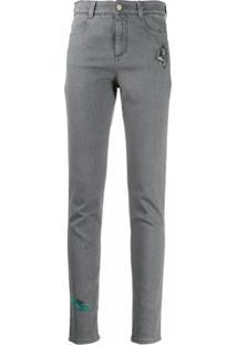 Stella Mccartney Calça Jeans Skinny Com Bordado - Cinza