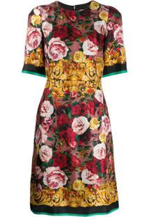 Dolce & Gabbana Vestido Midi Com Estampa De Rosa