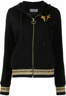 Versace Jeans Couture Barocco-Print Hooded Jacket - Preto