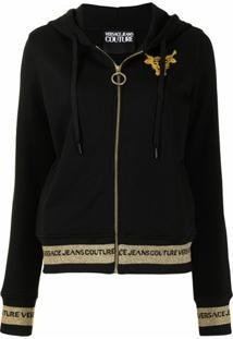 Versace Jeans Couture Jaqueta Com Capuz E Estampa Barroca - Preto