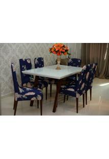 Capa Para Cadeira De Malha Kit 6 Unidades Floral Azul S.T.