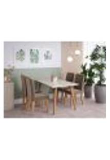 Conjunto De Mesa De Jantar Adele Com Tampo De Vidro Off White E 4 Cadeiras Estofadas Tais Suede Nude E Madeira