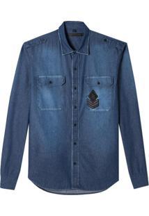 Camisa John John Laurence Jeans Azul Masculina (Jeans Medio, G)