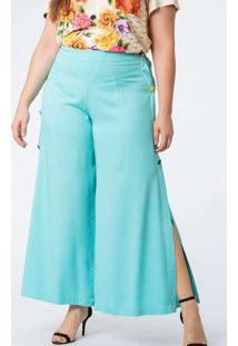 Calça Almaria Plus Size Munny Pantalona Botões Azu
