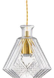 Pendente Em Vidro Transparente Lapidado 18Cm - Mart - Incolor