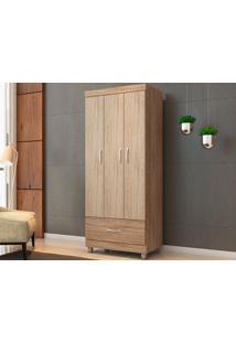 Guarda-Roupa Compacto Com 3 Portas Prince Nogal/Vanilla-Lc Móveis